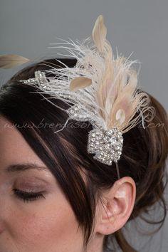 Feather Headband, Rhinestone Head Piece, Wedding Headband, Bridal Headband - Harper