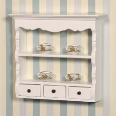 White Wall Shelf Unit Dolls House Emporium £3.36