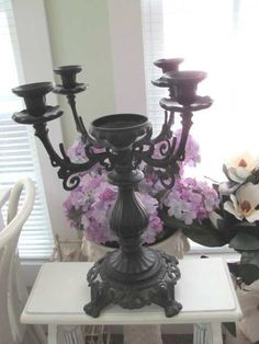 VINTAGE CAST METAL VICTORIAN CANDELABRA 5 CANDLE HOLDERS ORNATE | eBay  $25