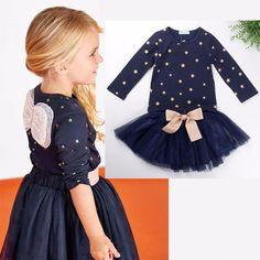 Winged Top and Blue Layered Tutu Dress Set