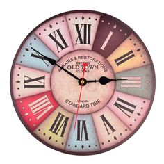 12 Inch Vintage Colorful France Paris French Country Tuscan Style Roman Numeral Design Silent Wooden Wall Clock M