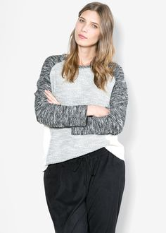 Panel flecked sweatshirt MANGO