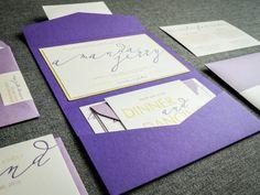 Lavender & Plum Wedding Invitations, Pocket Invitations, Script Wedding Invitations, Modern Calligraphy Design, by Julie Hanan Design on #etsy
