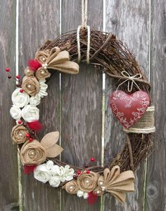 Valentine's Day Wreath - shabby chic combination of felt and burlap flowers make a very pretty statement for the cold wintery months or Valentine's day.