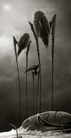 Insect beings Must-see CG Art by Alexey Egorov War Of The Worlds, World Art, Alien Art, Cosmic Horror, Science Fiction Artwork, Illustration Art, Art, Dark Art, Cg Art