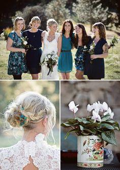 Different color dresses for bridesmaids