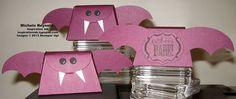 Stampin' Up! Halloween Bash Set and Petite Purse Bigz L Die treat boxes.  Punch art bats!