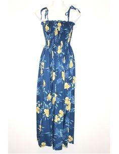 Okalani Long Tube Top Style Blue Dress