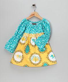 peacock | Yellow & Teal Elephant & Peacock Dress - Toddler & Girls | zulily