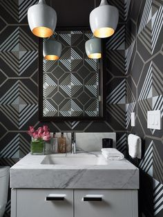 25 Awesome Rooms that Inspire You to Try Out Geometric Wallpaper. Bachelor Pad. #liveitattractively Interior design for men.
