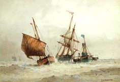 Frederick James Aldridge - In tow. Sailing Ships, Artist, Painting, Image, Artists, Painting Art, Paintings, Paint, Draw