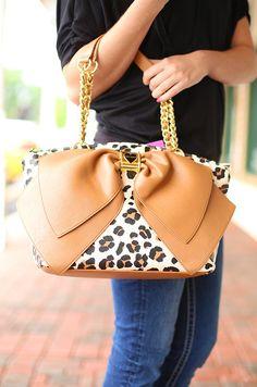 Bow-Nanza Handbag in Leopard by Betsey Johnson. LOVE!