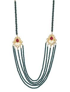 Green Semi precious onyx and red kundan brooch designer necklace