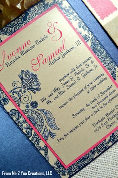 SAMPLE Navy and Pink Wedding Invitation by FromMe2YouCreations