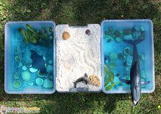 Un bac sensoriel de l'océan mettant en scène les animaux fascinants du monde marin. Voici une belle activité pour éveiller les sens et l'imagination. Fun Activities For Preschoolers, Montessori Activities, Toddler Activities, Toddler Fun, Toddler Preschool, Toddler Crafts, 2 Year Olds, Diy Bottle, Outdoor Fun