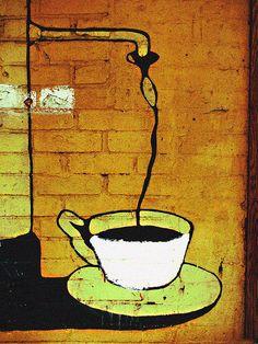 """Black Coffee"" found on brick on Bleecker & MacDougal Streets in Greenwich Village, NYC street | By Professor Bop via Flickr"