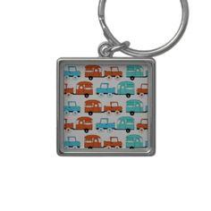 Retro Camping Trailer Turquoise Orange Vintage Car Keychain #SOLD on #Zazzle