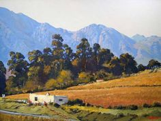 Ted Hoefsloot - South African Landscapes - Vineyard Robertson - 610 x 450 African Artists, Paint Colors, Watercolor Paintings, Art Gallery, Places To Visit, Mountains, Drawings, Vineyard, Landscapes