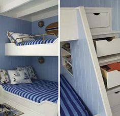 In place of a standard bunk-bed ladder, this built-in features a staircase with clothes drawers hidden in the risers. A book cubby provides more storage space in the corner beneath the stairs. | Photo: Tria Giovani | thisoldhouse.com