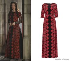 In the tenth episode Lola is going to be seen in this Alice by Temperley Long Olympia Dress ($795 $400). The sleeves as well as skirt were modified by Reign costume dept.