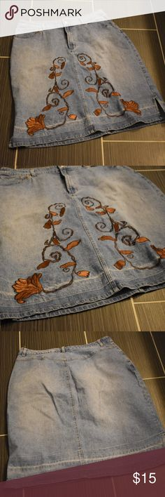 """Zoey Beth Embroidered Jean Skirt Size 18 Zoey Beth Skirt Embroidered Brown Flower Size 18 Shows Wear As Seen in Pics  38"""" Waist, 25"""" Long  Inventory Location GWB003 Zoey Beth Skirts"""