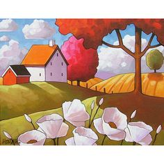 White Flower Cottages, Rural Country Folk Art Print, Floral Blooms in Late Summer Sun, Reproduction 8x11 Giclee Artwork by Cathy Horvath