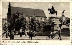 Wrocław Breslau Schlesien, Schweidnitzer Straße mit Kaiser Wilhelm Denkmal, Hakenkreuz