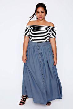Distintas formas de usar una falda larga de jean según su silueta y diseño. Fashion tips by Icon. Asesoría de imagen personal Medellín. presencial y online.