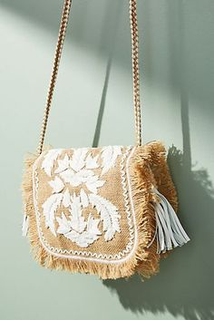 Discover unique Straw Bags at Anthropologie, including the seasons newest arrivals. Embroidery Purse, Hand Embroidery Designs, Handmade Bags, Handmade Jewelry, Clutch Bag, Crossbody Bag, Boho Bags, Jute Bags, Unique Bags