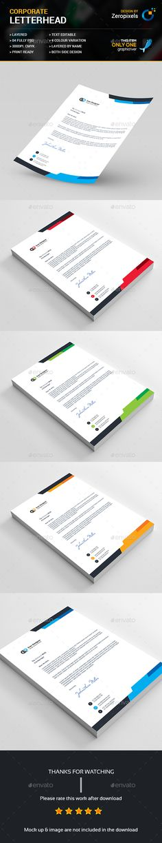 Free Printable Business Letterhead Templates Corporate Letterheads Bundle  Logos Corporate Identity And Company .