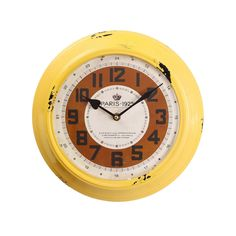 Reloj de pared industrial amarillo #LolaDerek #reloj #relojdepared #deco #estilo #home #watch #time #yellow #factory #shoponline #tiendaonline http://goo.gl/K306eP