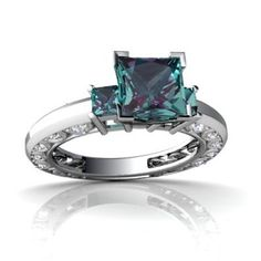 I love this setting. Throw in some sapphires & it will be love at first sight!  14K White Gold Square Created Alexandrite Engagement Ring Size 6.5