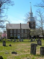 Trinity Church in Swedesboro, New Jersey. Originally serving a Church of Sweden congregation, it became an Episcopal church in 1786, when this building was completed.