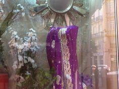 Purple shining saree