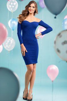 İroni Saks Mavisi Mini Elbise