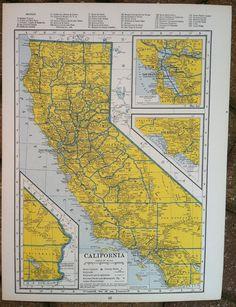 Vintage Maps - California and Arkansas - 1940s. $8.00, via Etsy.