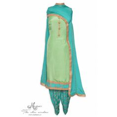 Elegant sea green unstitched suit accentuated with buttons and salwar featuring in zari work-Mohan's the chic window Indian Suits, Indian Dresses, Indian Clothes, Designer Punjabi Suits, Indian Designer Wear, Pakistani Outfits, Pakistani Clothing, Patiala Salwar Suits, Churidar Designs