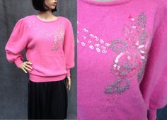 80's Oriental Pink Lambswool and Angora Knit by ElkHugsVintage