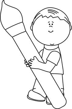 Black and White Boy Holding a Giant Paint Brush Clip Art - Black and White Boy…