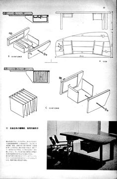 """Perriand's Furniture"" 'Kogei News' Magazine 1955, P50, 7/8"