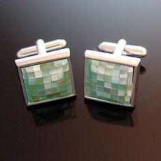 Green Mosaic Shell Cufflinks by cuffcuff on Etsy, $42.00