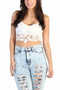 Crochet Lace Bustier Top - White