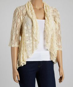 Another great find on #zulily! Ivory Ruffle Open Cardigan - Plus #zulilyfinds