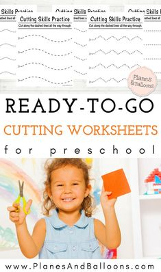 Scissor skills preschool free printable worksheets. These are so simple yet effective.