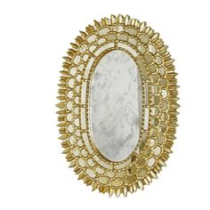 Carmelita Gold Leaf Oval Mirror