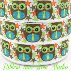 Baby Boy Hoot Time Grosgrain ribbon 5/8 (16mm) 2 meters printed. $2.90, via Etsy.