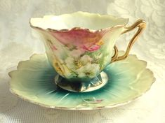 Antique RS Prussia Fine Porcelain Teacup Saucer Hand Painted Flower Shape Mold 659