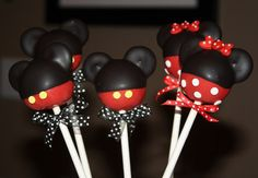 mickey mouse and minnie mouse cake pops , birthday , party , kids. $30.00, via Etsy.