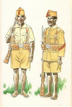 GUARDIA COLONIAL DE GUINEA.Sobre 1930/31.  Soldado en uniforme de campo - Cabo en uniforme de formación