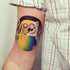 Sasha Unisex - click through this Adventure Time tattoo - gallery with many in a really cool blocky color style.